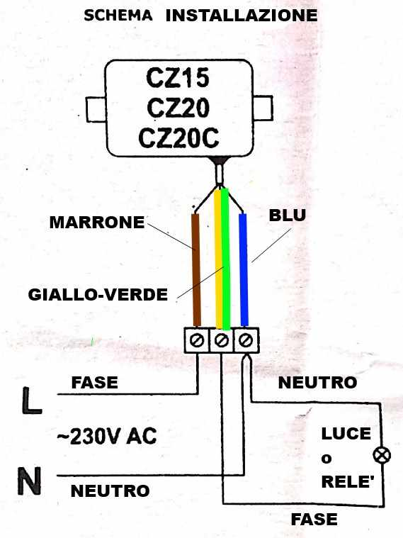 schema collegamento sensore